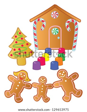 A gingerbread family standing outside their gingerbread house made of candy.