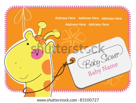 A Giraffe with a ribbon and a greeting Card tied around her neck - stock vector