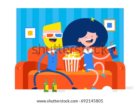 A girl and a boy are watching a cheerful movie at home on a leather sofa with a drink and popcorn vector illustration