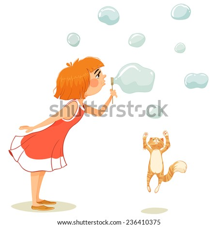 a girl blow bubbles and playing