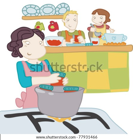 A girl cooks with her parents.