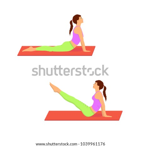 A girl doing gymnasticand 2 fitness exercises on a gym mat. Woman lying on the floor and doing abdominal workout.