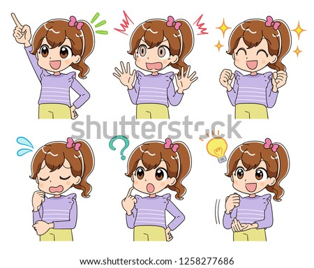 a girl has various expressions