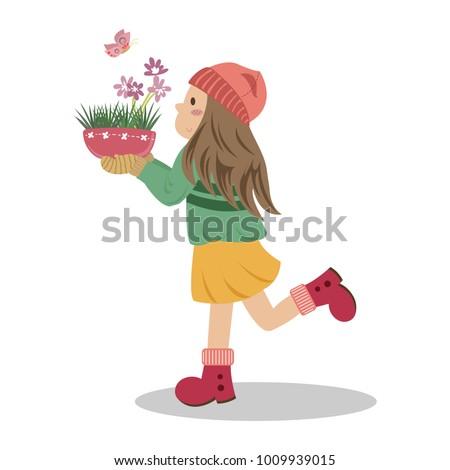 a girl holding a flower pot