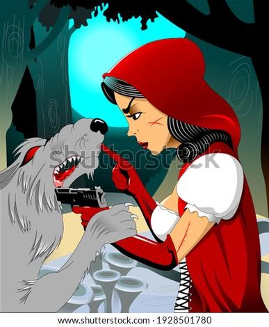 a girl in a red cloak met a