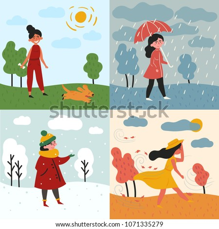 A girl in all four seasons and weather. Windy for autumn, snowy winter, rainy for spring and sunny is summer. Female in different poses and cloth, umbrella, dog and trees. Set of vector illustration