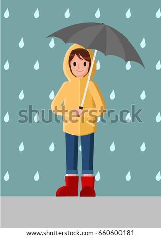 A girl in yellow raincoat. Woman wears a raincoat holding an umbrella. Rainy season. Rainy day . vector.