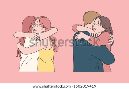 A girl is hugging a girl with a smiling face. A girl is hugging a boy with a smile. hand drawn style vector design illustrations.