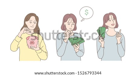 A girl is putting a coin into a piggy bank. A girl is holding a bunch of bills and thinking. A girl is holding a bill and making a good plan. hand drawn style vector design illustrations.