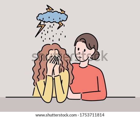 A girl is sad and a woman is comforting her. hand drawn style vector design illustrations.
