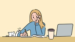 A girl is studying at the desk and a cat is disturbing her. hand drawn style vector design illustrations.