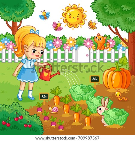 A girl is watering garden bed with vegetables. Vector illustration with farming crops in cartoon style. Agricultural work.