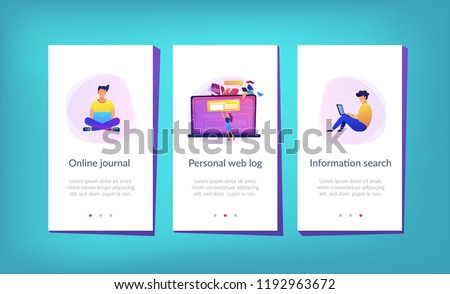 A girl makes a post on big laptop. Bloger is shareing information in weblog, online journal or informational website. Bloging and personal web log concept. Violet palette. App interface template.