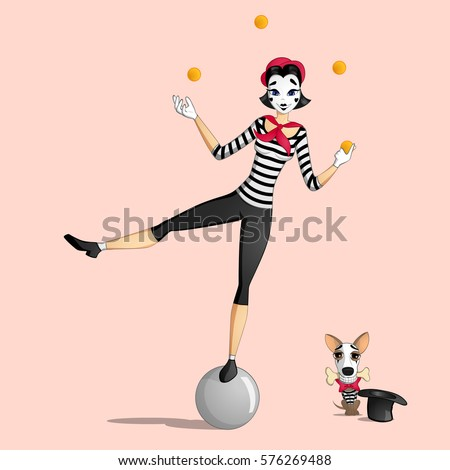 a girl mime performing a