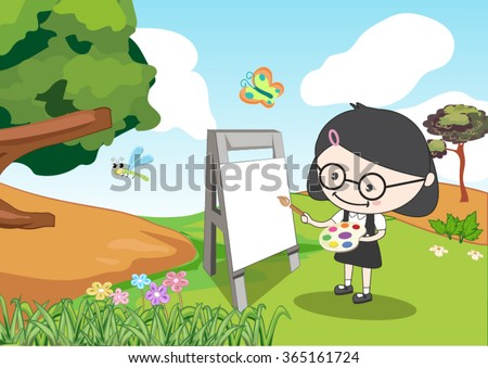 a girl painting in the garden