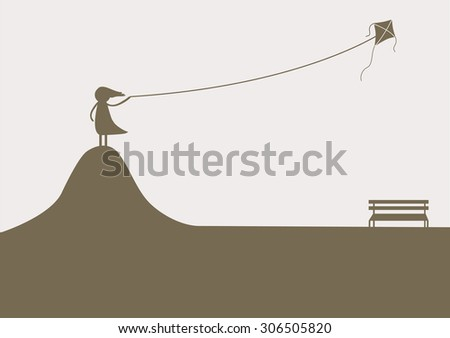 a girl playing kite lonely