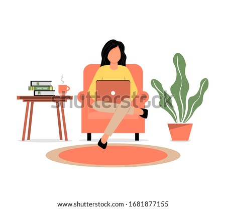 A girl sits in a armchair and works on a laptop. Home Office. Work at home or freelance. A young woman is studying at home. Freelancer lifestyle. Home schooling.  Vector illustration in a flat style.