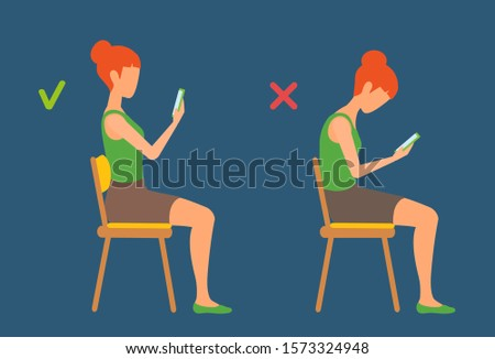 A girl sits on a chair bent and straightened, reading the phone. Correct and incorrect sitting position. Before and after, changing. Healthy spine vector cartoon illustration. Person side view.