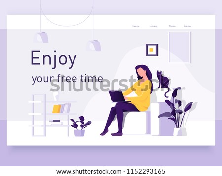 A girl sitting on the sofa works on the laptop. Vector flat illustration. Landing page template, cartoon style.