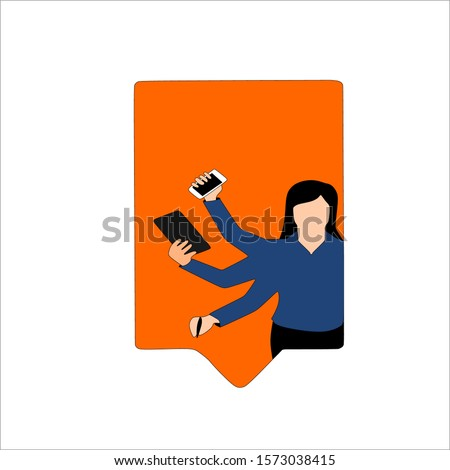 A girl who has many hands. Businessman, manager, marketer, manager, sales manager, account manager, call center operator, director. Employee accepts calls in the office. Vector illustration