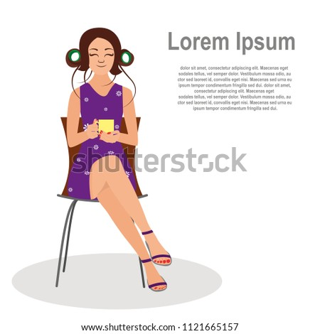 stock-vector-a-girl-with-a-cup-in-her-hands-sitting-on-a-chair-dressed-in-a-fashionable-dress-and-sandals