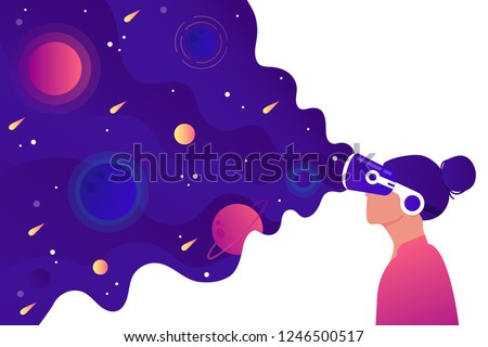A girl with a VR headset sees space. The concept of virtual reality. Flat vector illustration.