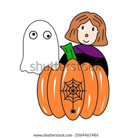 A girl with brown heels wearing a witch's dress. White ghost, pod and spider web with spider. Vector illustration on white background.