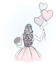 A girl with long hair in a beautiful dress. Balloons and a bouquet of flowers. Vector illustration for a holiday greeting card, poster, or print on clothes. Hearts, love and valentine's day.