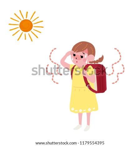 A girl with satchel under the Sun