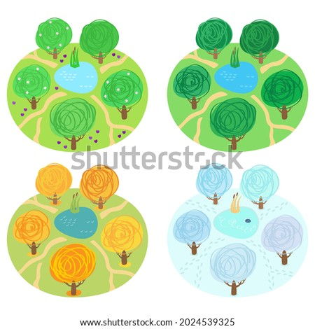 a glade with five trees around