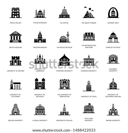A glance at a pack of universities buildings glyph icons where you can find captivating and editable visual vectors.