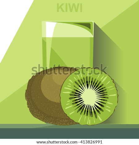 a glass of green kiwi juice  a