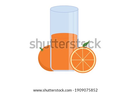 A glass of juice, half and whole orange vector. Delicious fresh orange juice.  Stock fotó ©