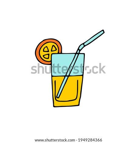 A glass of lemonade, juice. Cooling drink. Cocktail tube, orange slice. Vector. Doodle. Freehand drawing. Foto stock ©