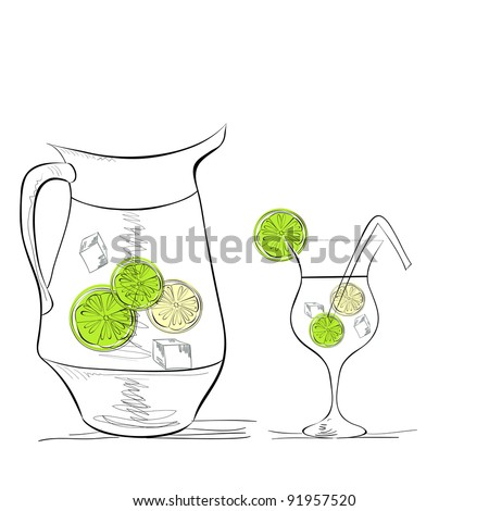 A glass of water with lime and pitcher