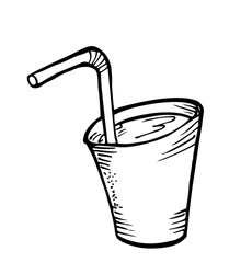 a glass of water with straw