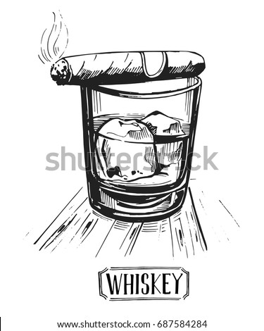 A glass of whiskey with ice and a cigar. Isolated on white background. Hand drawn illustration converted to vector.