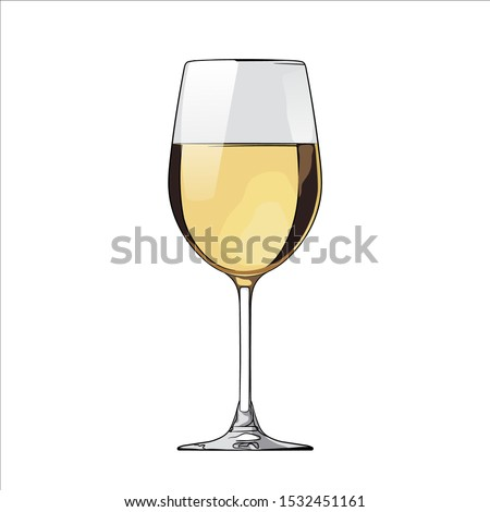 a glass of white wine vector