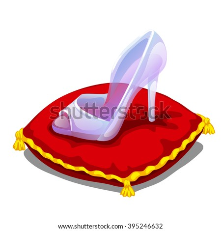 a glass slipper on a red pillow