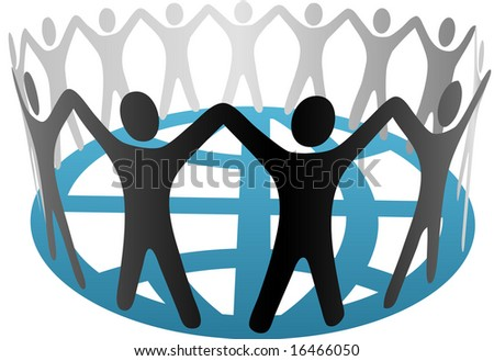 A global group of Symbol People in a circle, ring, chain of cooperation, community on a blue globe.