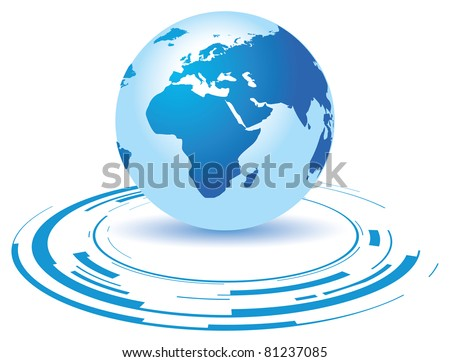 a globe on a broken blue background