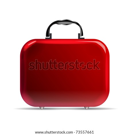 A glossy red suitcase with rounded corners and silvery details