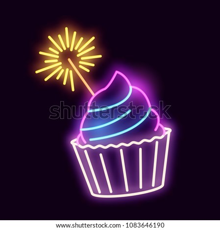A glowing neon light sign cupcake with a sparkler. Vector illustration.