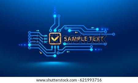 A gold check mark on a blue background. A symbol of security, confidence in hardware. cybersecurity future. Vector illustration electronic print circuit board pcb style