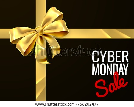 A gold gift bow ribbon Cyber Monday Sale sign