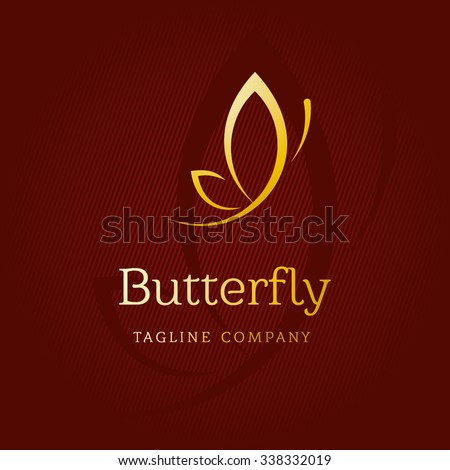 A Golden butterfly. Logo template for beauty salon, Spa salon, etc.
