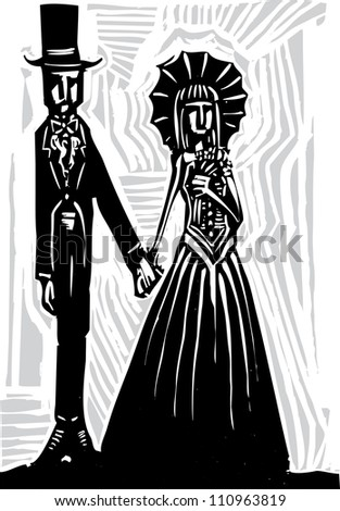 A Gothic couple in fancy dress getting married or going to prom.
