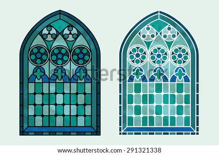 A Gothic Style stained glass window in cool tones of blue, green and turquoise. Two options with black or white outline. EPS10 vector format