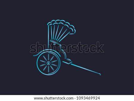 A gradient line art of Japanese Rickshaw.