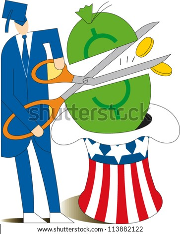 A graduate wearing a mortarboard uses scissors to cut through a large bag of money resting in an uncle sam hat